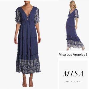 MISA Los Angeles Lunah Printed Ruffle Maxi Dress